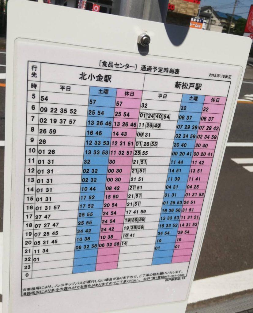 食品センターバステラスモール松戸時刻表