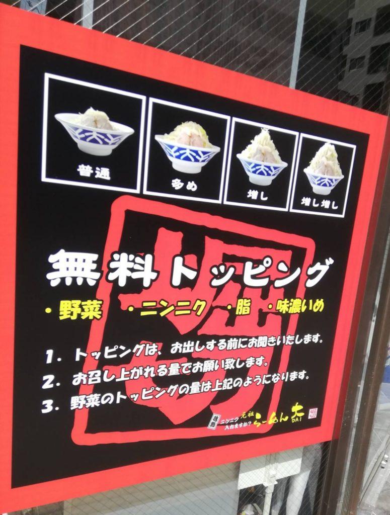 ラーメン大松戸店コールトッピング