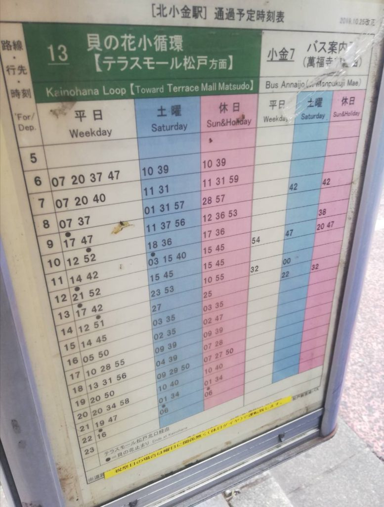 北小金テラスモール松戸バス