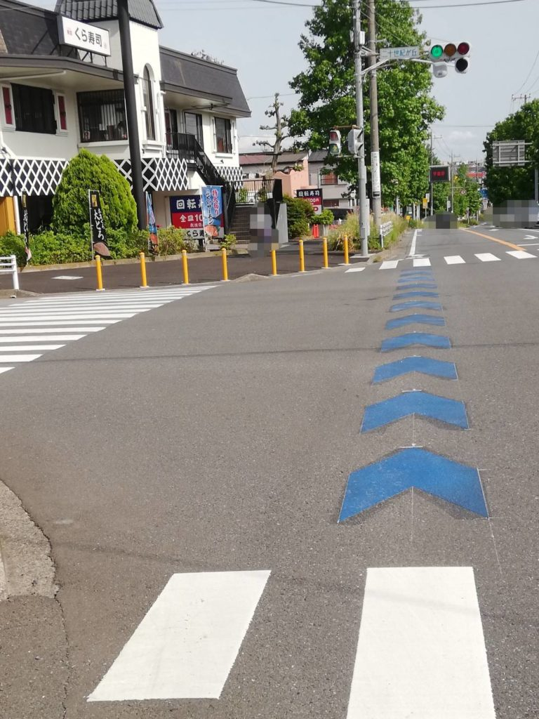 自転車ナビライン松戸二十世紀が丘交差点自転車ナビマーク