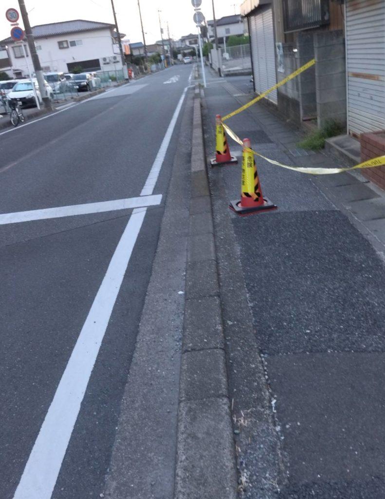 仲井町3丁目道路規制線