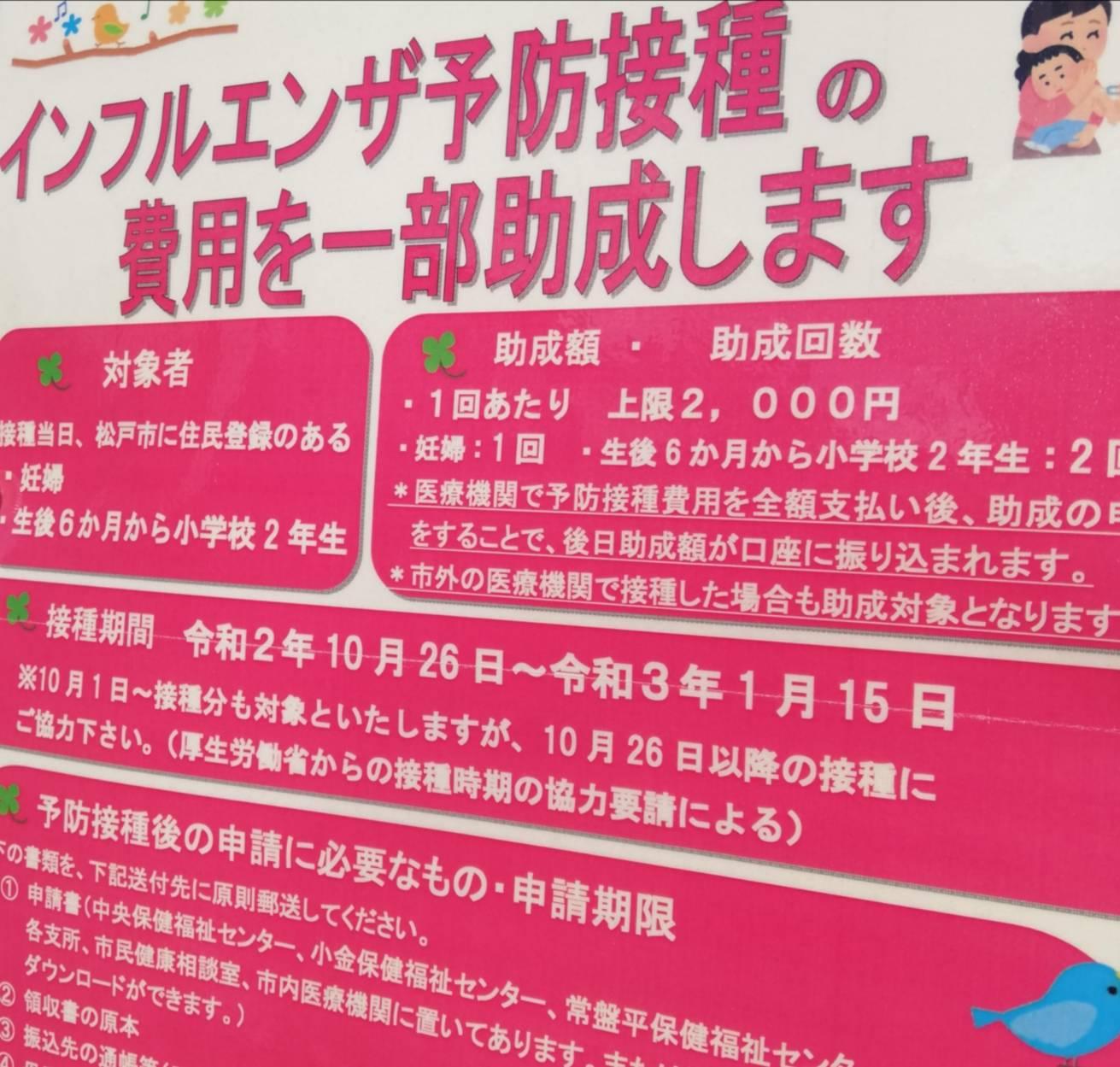 インフルエンザ予防接種松戸市助成妊婦子供